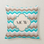 Teal Blue Brown Chevron Modern Monogram Throw Pillow
