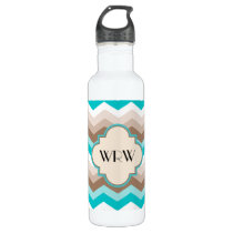 Teal Blue Brown Chevron Modern Monogram Water Bottle