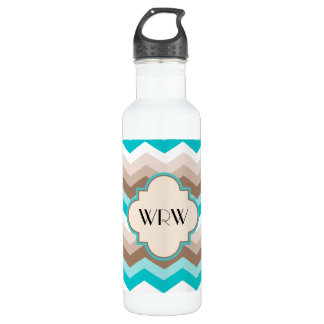 Teal Blue Brown Chevron Modern Monogram Water Bottle