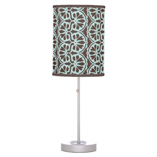teal blue brown damask custom table lamp zazzle