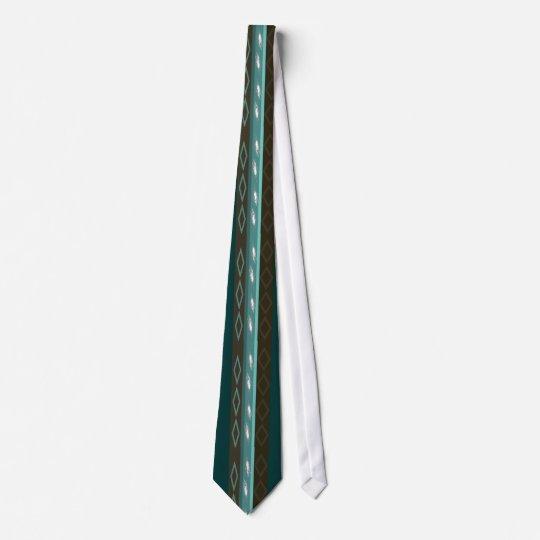 Teal Blue & Brown Peacock Tie