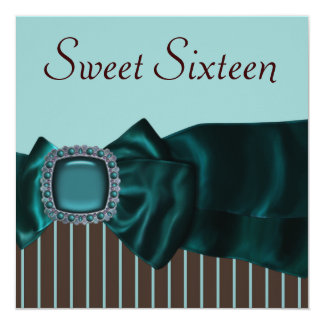 Teal Blue Brown Sweet 16 Party Card