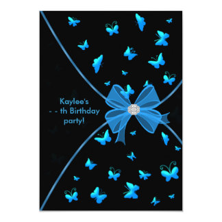 Teal Blue Butterfly Girls Birthday Party Invitatio Card