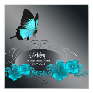 Teal Blue Butterfly Graduation Announcements