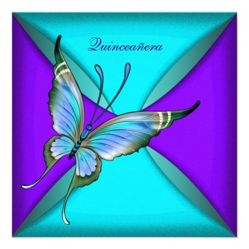 Teal Blue Butterfly Quinceanera 15th Birthday Invites