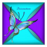 Teal Blue Butterfly Quinceanera 15th Birthday 5.25x5.25 Square Paper Invitation Card