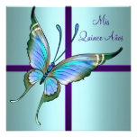 Teal Blue Butterfly Quinceanera Custom Invites