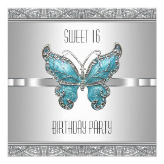 Teal Blue Butterfly Sweet 16 Birthday Party Custom Announcements