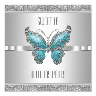"""Teal Blue Butterfly Sweet 16 Birthday Party 5.25"""" Square Invitation Card"""