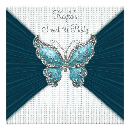 Teal Blue Butterfly Sweet Sixteen Birthday Party Personalized Announcements