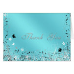 Teal Blue Butterfly Thank You Cards Note Card