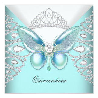 Teal Blue Butterfly Tiara Quinceanera 15th Party Card