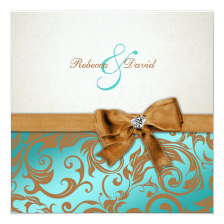 Teal Blue & Caramel Damask with diamond bow Invitation