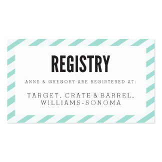 Teal Blue Carnival Stripes Registry Insert Card Business Card