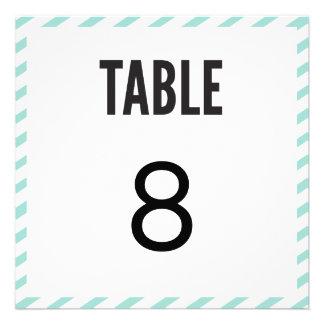 Teal Blue Carnival Stripes Table Number Card