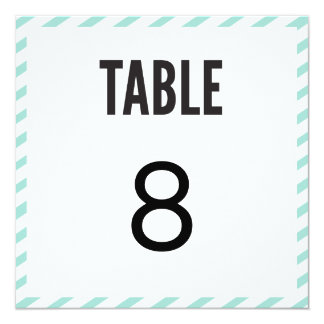 Teal Blue Carnival Stripes Table Number Card