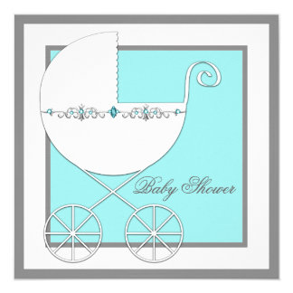 Teal Blue Carriage Baby Shower Custom Invitations