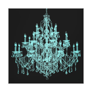 Teal Blue Chandelier Canvas Wall Art Print