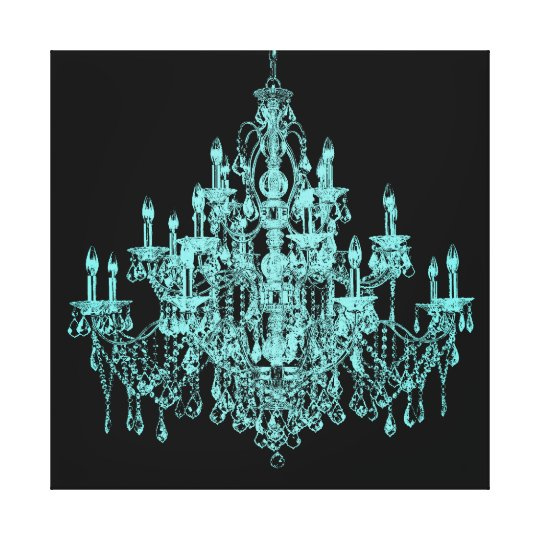 Teal blue chandelier canvas wall art print zazzle teal blue chandelier canvas wall art print aloadofball Gallery