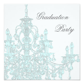 Teal Blue Chandelier Graduation Party Invitation