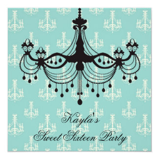 Teal Blue Chandelier Sweet 16 Party Card