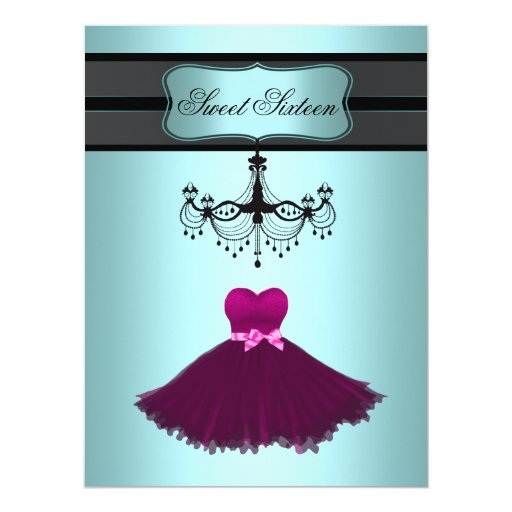 Teal Blue Chandelier Sweet Sixteen Birthday Party Card