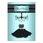 """Teal Blue Chandelier Sweet Sixteen Birthday Party 5"""" X 7"""" Invitation Card"""