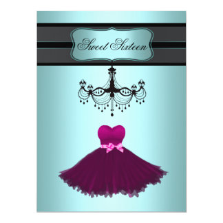 Teal Blue Chandelier Sweet Sixteen Birthday Party Invites