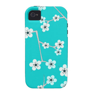 Teal Blue Cherry Blossom Print Case-Mate iPhone 4 Cases