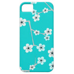 Teal Blue Cherry Blossom Print iPhone 5 Cases