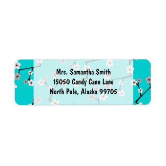 Teal Blue Cherry Blossom Print Label