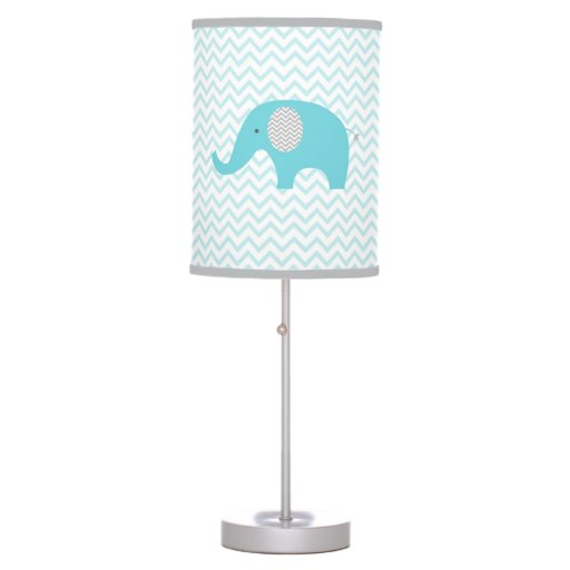 Teal Blue Chevron Elephant Nursery Lamp