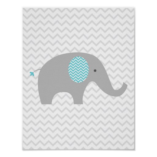 Teal Blue Chevron Elephant Nursery Wall Art Print