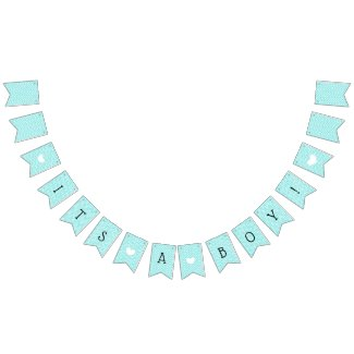 Teal Blue Chevron Its a Boy Baby Shower Bunting Bunting Flags
