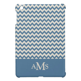 Teal Blue Chevron Stripe 3  Monogram Case For The iPad Mini