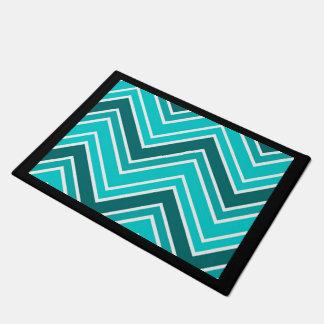 Teal Blue Chevron Stripe Patter with Black Border Doormat