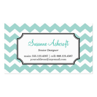 Teal blue chevron zigzag pattern stylish personal Double-Sided standard business cards (Pack of 100)
