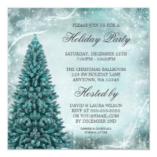 Teal Blue Christmas Tree Holiday Party Card at Zazzle
