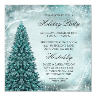 Teal Blue Christmas Tree Holiday Party Invitation