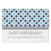 Teal Blue Circles Employee Anniversary Card