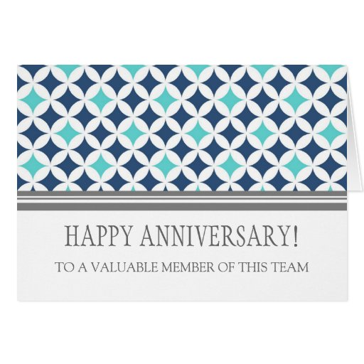 Teal Blue Circles Employee Anniversary Card