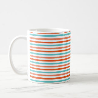 Teal Blue, Coral Orange Stripes, Striped Classic White Coffee Mug