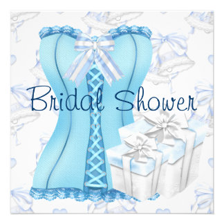 Teal Blue Corset Bridal Shower Invitations