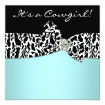 Teal Blue Cow Print Cowgirl Baby Shower Invites