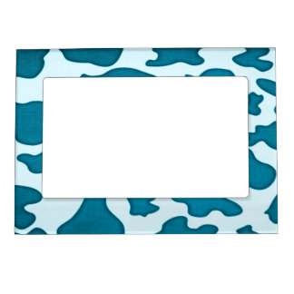 Teal blue cow spots magnetic picture frame