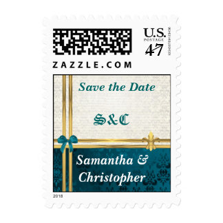 Teal blue & cream damask save the date postage
