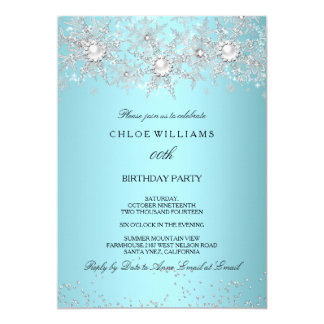 Teal Blue Crystal Pearl Snowflake Silver Winter 5x7 Paper Invitation Card