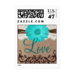 Teal Blue Daisy LOVE Wedding Postage Stamps