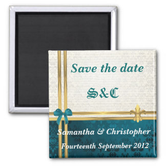 teal blue damask and gold ribbon save the date magnet