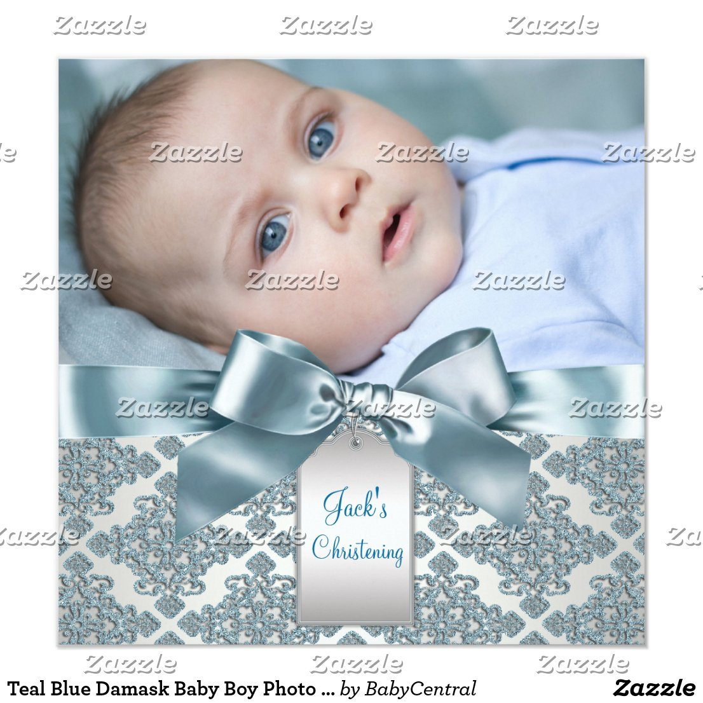 Baby Boy Photo Christening Card